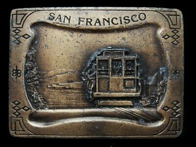 Ke23122 Great Vintage 1977 Imc **San Francisco Cable Car** Brasstone Belt Buckle