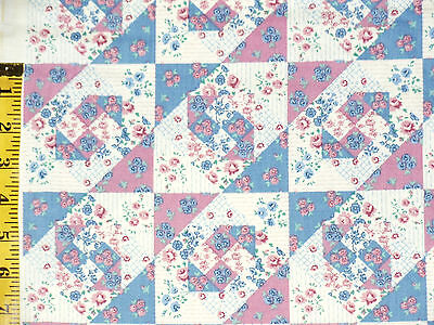 """Quilting cotton fabric mock country quilt blocks roses print allover 38""""x46"""""""