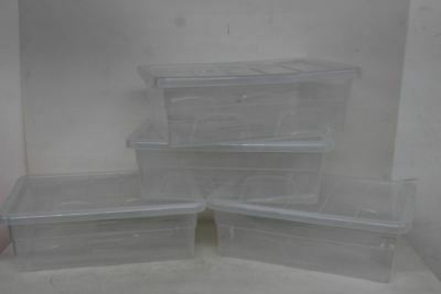 4x NEW WHITEFURZE 56cm Spacemaster Mini Clear Plastic Storage Boxes With Lids