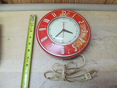 VINTAGE GENERAL ELECTRIC GE Wall Clock – Red Kitchen Décor ...