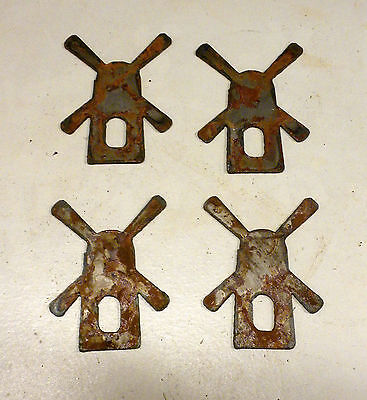 "Lot of 4 Old Farm Wind Mill Shapes 3"" Rusty Metal Vintage Ornament Craft Sign"