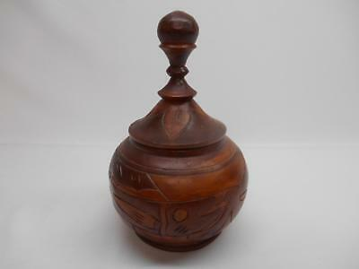 Old Vtg Handmade Hand Carved WOOD URN Storage Container Made Haiti Woodenware