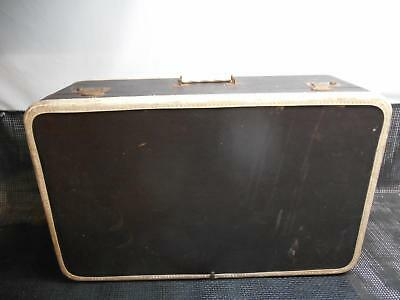 "Antique WOOD SUITCASE Luggage 26"" Travel Old Vtg Baggage Train Case"