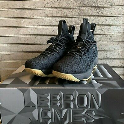 5191b295a841 NIB Nike Lebron XV 15 GS Kids Black Gum Basketball Shoes 922811-001 Size 4