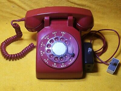 Vintage Red Rotary Dial Desk Telephone Bell System W/ Plug In