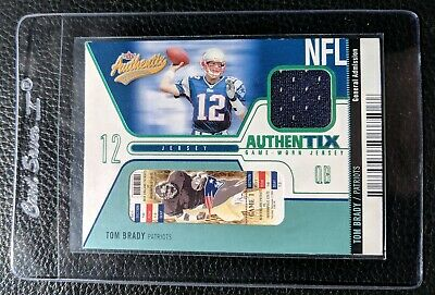 2004 Fleer Authentix Tom Brady Game Used Jersey Card New England Patriots #/275
