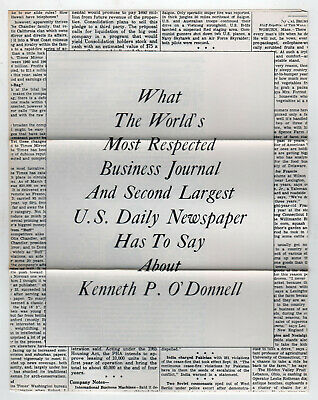 1966 KENNETH KEN O'DONNELL Political Brochure JFK Kennedy MASSACHUSETTS Governor