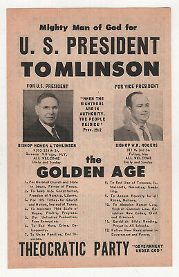 1964 HOMER TOMLINSON Theocratic Party POLITICAL Flyer POSTER Bishop ROGERS God