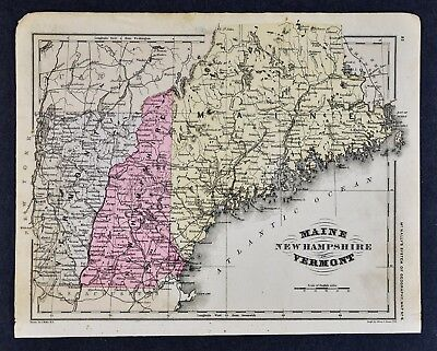 1882 McNally Map Maine New Hampshire Vermont Portland Concord Montpelier Augusta