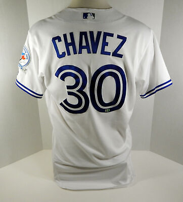 109afc3a2 2016 Toronto Blue Jays Jesse Chavez  30 Game Used White Jersey 40th Anv  Patch