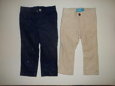 Old Navy Girls 18-24M Sparkle Cream Navy Blue Cord Pants Clothes Lot 18 24 Month