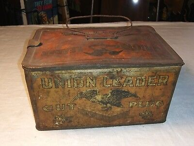 Vintage Union Leader Cut Plug Smoking Chewing Tobacco Tin Lunch Box Antique Red