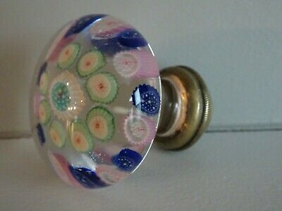 Antique Bohemian Glass Paperweight Millefiori Concentric Door Knob Doorknob