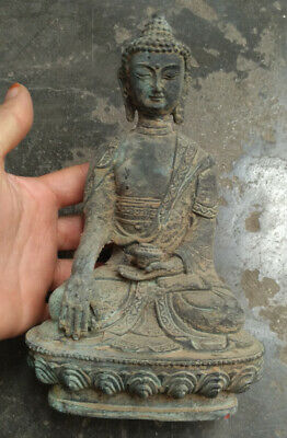 Tibetan Buddhism Shakyamuni Sit Buddha Bronze antique excellent old Statue
