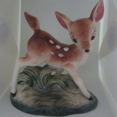 Vintage 19cm tall Ceramic Deer Fawn Large Ornament 1950s 1960s Kitsch Book End