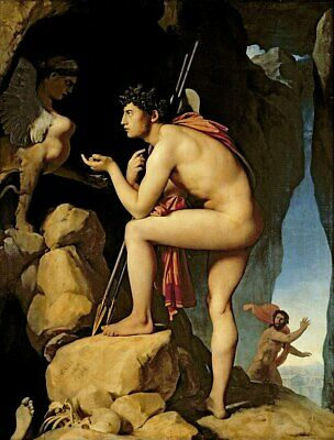 Handmade Oil Painting repro Jean Auguste Dominique Ingres Oedipus and the Sphinx