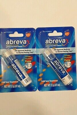 2x Abreva Cold Sore/ Fever Blister Treatment Pump 2g 4G TOTAL