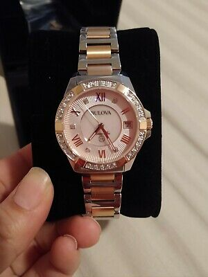 Bulova Marine Star Women's Quartz Diamond Accents Two-Tone 32mm Watch 98R234