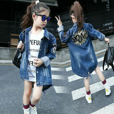Kids Girls Outfits Overcoat Printing Sequins Denim Jacket Parka Trench Coat