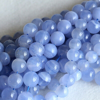 AAA High Quality Natural Genuine Blue Chalcedony Round Loose Beads 4-16mm 16""