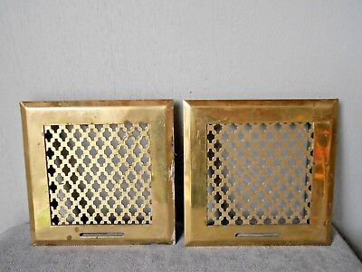 2 FRENCH Vintage BRASS HEATING GRATES VENTS