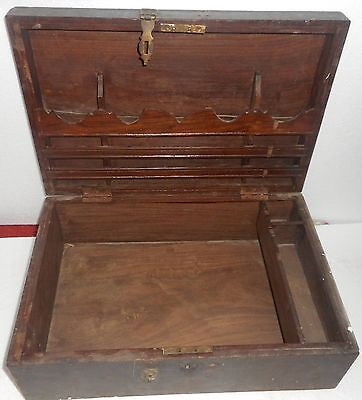 1900s India Antique Handmade Wooden Cash Box with Key Lock And many campartments