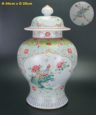 LARGE Antique Chinese Famille Rose Vase & Lid QIANLONG SIX Charc Blue Mark QING