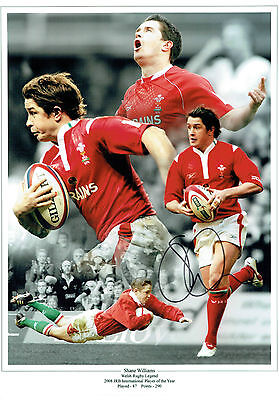Shane WILLIAMS Signed Autograph 16x12 Wales Welsh RUGBY Montage Photo AFTAL COA