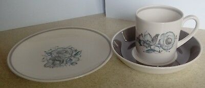 Wedgewood Susie Cooper bone china trio - Peony design - teacup, saucer & plate