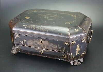 LARGE Antique Chinese Export Gilt Wood Lacquer WorkBox Box 19th C