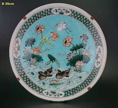 HUGE! 13.8'' Chinese Famille Rose Porcelain Mandarin Duck Lotus Charger 19th C