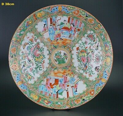 HUGE 15'' Antique Chinese Canton Famille Rose Porcelain Plate Charger c1850 QING