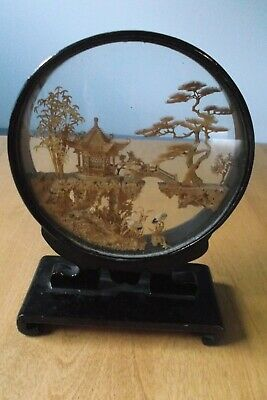Vintage Chinese Oriental Hand Carved Cork Diorama In Black Lacquer Frame