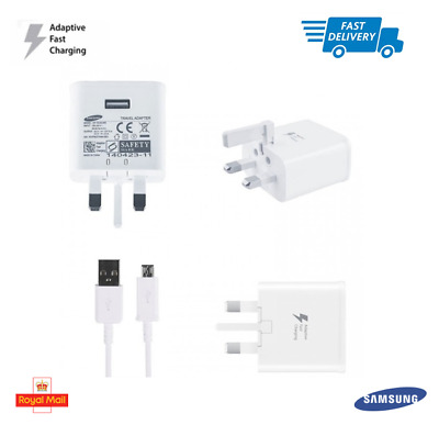 Genuine Samsung Fast Charger Plug Micro USB Data Cable Galaxy Phones Tablets Lot