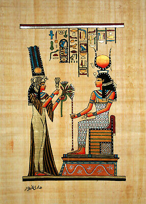 """Egyptian Papyrus - Hand Made- 9"""" x 13""""- Queen Nefertari Offering To Goddess Isis"""