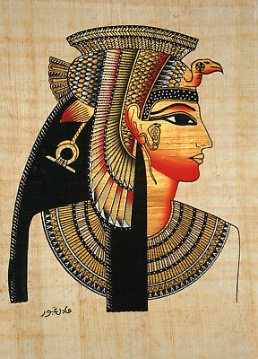 "Egyptian Papyrus - Hand Painted - 9"" x 13"" - Ancient Art Form- Queen Cleopatra"