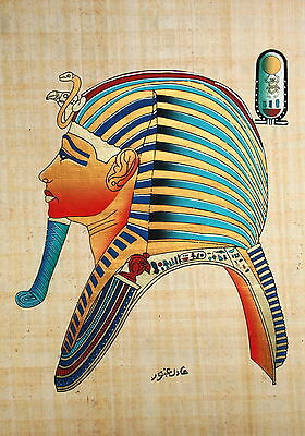 """Egyptian Papyrus  - Hand Made - 12"""" x 16"""" - Side View Of King Tut's Mask"""