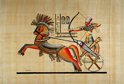 """Egyptian Papyrus - Hand Made - 9"""" x 13"""" Ancient Art Form- Ramses In Battle"""