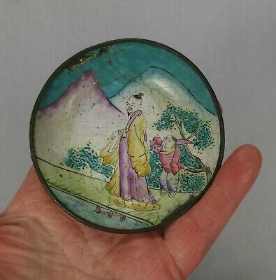 Vintage Antique Chinese/Japanese Hand Painted Enamel Pin Tray/Dish Copper Brass