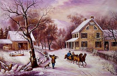 Currier Ives American Homestead Winter Painting repro