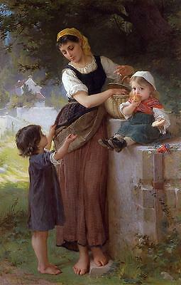 """Handmade Oil Painting repro Emile Munier May I Have One Too 24""""x36"""""""