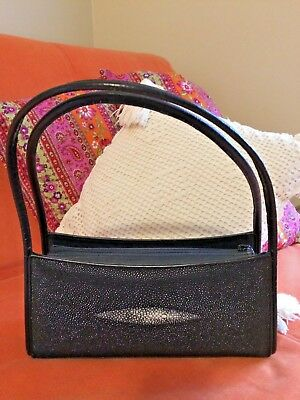 57c65244aad2 Black Leather Genuine Stingray Skin Shoulder Bag Oceanic Brand Purse