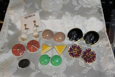 Vintage Lot Of 7 Pair Summer Colors Clip Earrings Nice&Clean Ready For Wear!