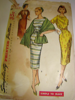VTG SIMPLICITY 60'S sewing pattern 1446 CHEMISE DRESS AND STOLE  USED SIZE 141