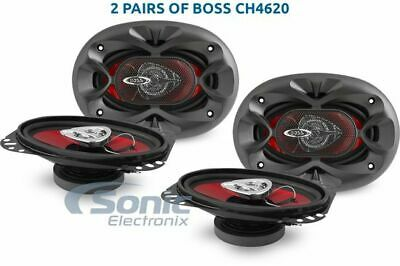 "4) New BOSS CH4620 4x6"" 400 WATT RMS 2-Way Car Audio Coaxial Speakers Stereo Red"