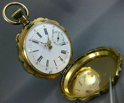 Antique Victorian Extra Large 14Kt Yellow Gold 3D Filigree Pocket Watch #26635