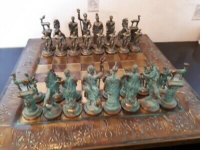 Very Rare Antique  Greek Gods  Bronze Chess  Set & Board