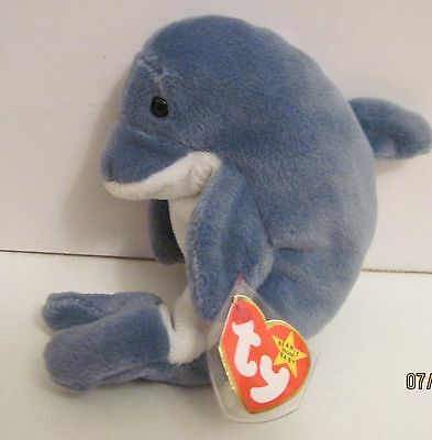 a4dcca96ce9 Ty Beanie Baby Echo The Dolphin With Waves Tags- 13 Errors - Pvc Pellets -