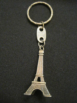 """French Eiffel Tower Keychain in Bronze Paris France 3D Charm ~Tower is 2"""" tall"""