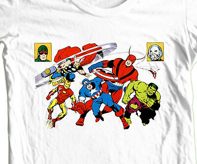 THE AVENGERS T-shirt cool retro vintage Giant Man Thor Iron Man Ant-Man tee